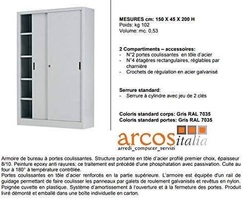 Arcos Italia - Armario metálico archivador de 150 x 45 x 200 puertas correderas con cerradura. Fabricado en Italia.: Amazon.es: Oficina y papelería