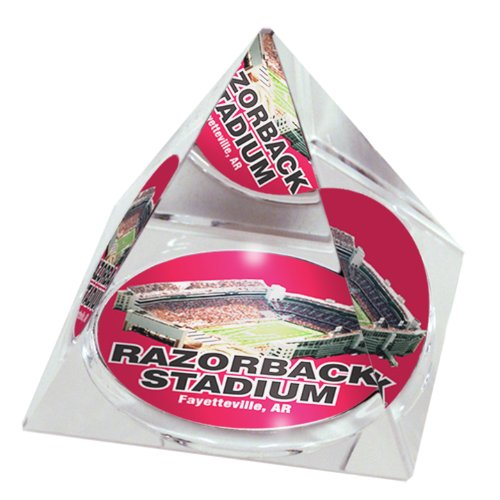 "NCAA Arkansas University Razorback Stadium  in 2"" Crystal Pyramid with Colored Windowed Gift Box"