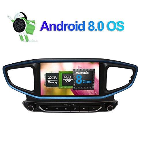 Flynavigo 8 Inch Android 8.0 Octa Core 2 Din Car Radio Stereo with GPS Navigation for Hyundai Ioniq 2016-/Ioniq Hybrid Right Steering Wheel Support RDS/AM/FM/WIFI/3G/AV output/Bluetooth/1080P Video
