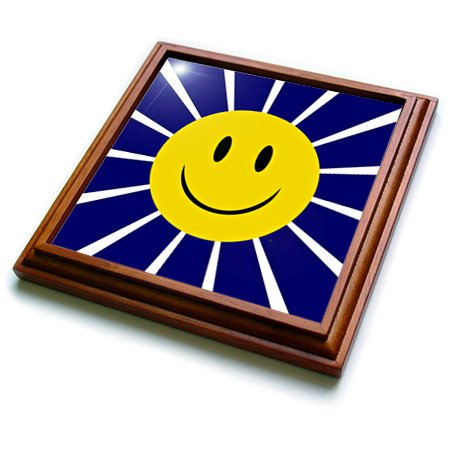 3dRose trv_220382_1 Big Yellow Smiley Face Over Radial White Lines on Royal Blue Trivet with Ceramic Tile, 8