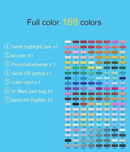 YXHES 168色の画材のマーカーペンブラシセットアニメ学生デザイン30/40/60カラーのダブルヘッドの色油性POPペンフルセット (色 : All 168 Black rod)