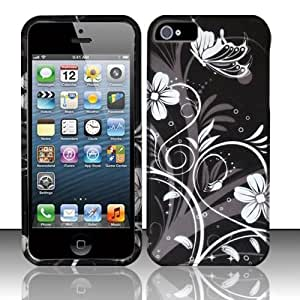 Black Flowers Hard Case Snap On Rubberized Cover For Apple iPhone 5