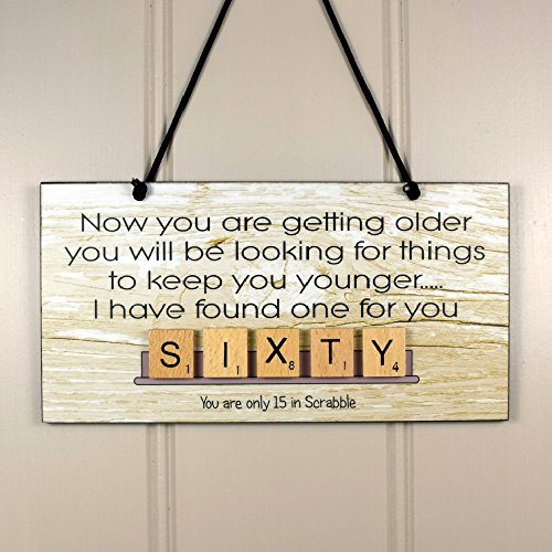 60th Birthday Scrabble Wooden Home Sign Plaque Anniversary Gift Hanging Sign Housewarming -