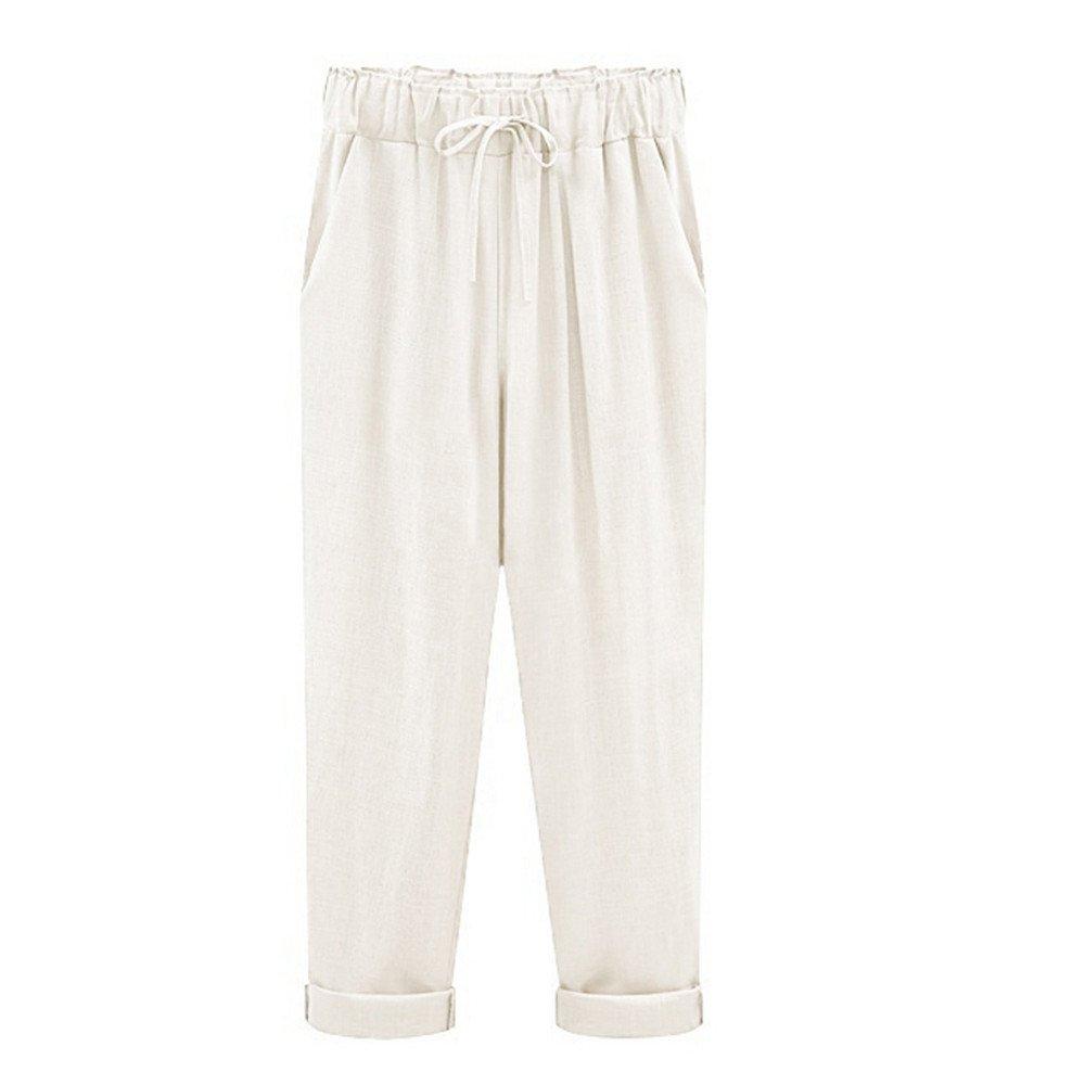 Women Wide Leg Pants☃Foncircle Women Plus Size Casual Cotton Linen Trousers