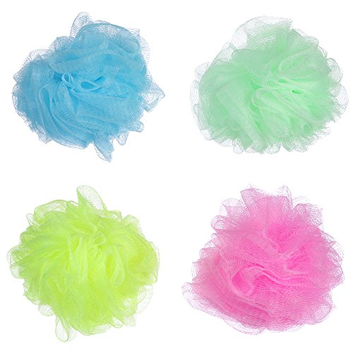 50g Balls (Angeltyr Multicolor Loofah Sponge set - Eco-friendly Exfoliating Bath Shower Ball Sponge of 4 Colors (50g/pc))