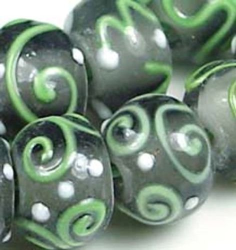 Lampwork Handmade Glass Green Grey Scroll Rondelle Beads (6)