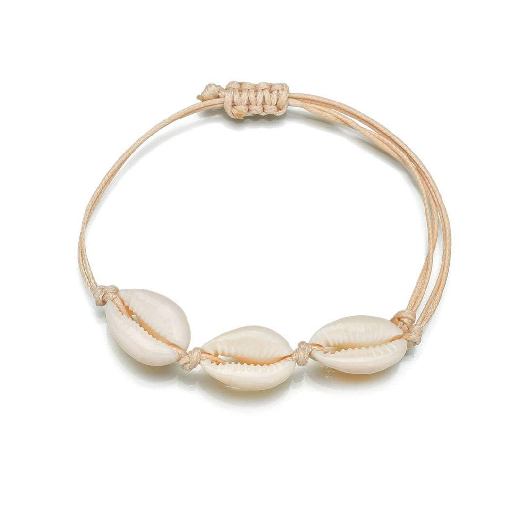 Shegirl Boho Shell Ankle Bracelet Simple Weaving Rope Anklet Hawaiian Handmade Beach Barefoot Fashion Foot Jewelry for Women and Girls (Beige)