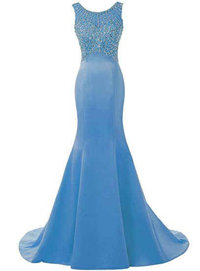 Solovedress Womens Long Mermaid Prom Dress Beaded Evening Gowns Wedding Dress Bridesmaid(UK 6,