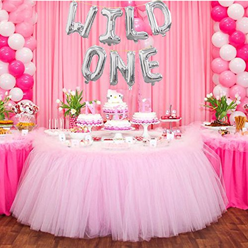 16 INCH WILD ONE Kids First Birthday Balloon Banner Baby Girl Boy 1ST Bday Party