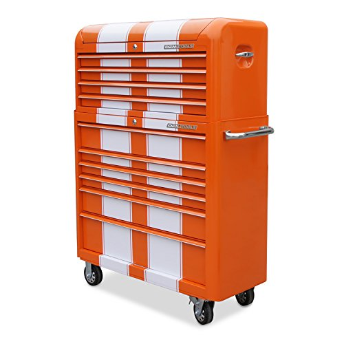 "OEMTOOLS 24620 Orange and White 41"" 10 Drawer Contour Chest and Cabinet Combo"