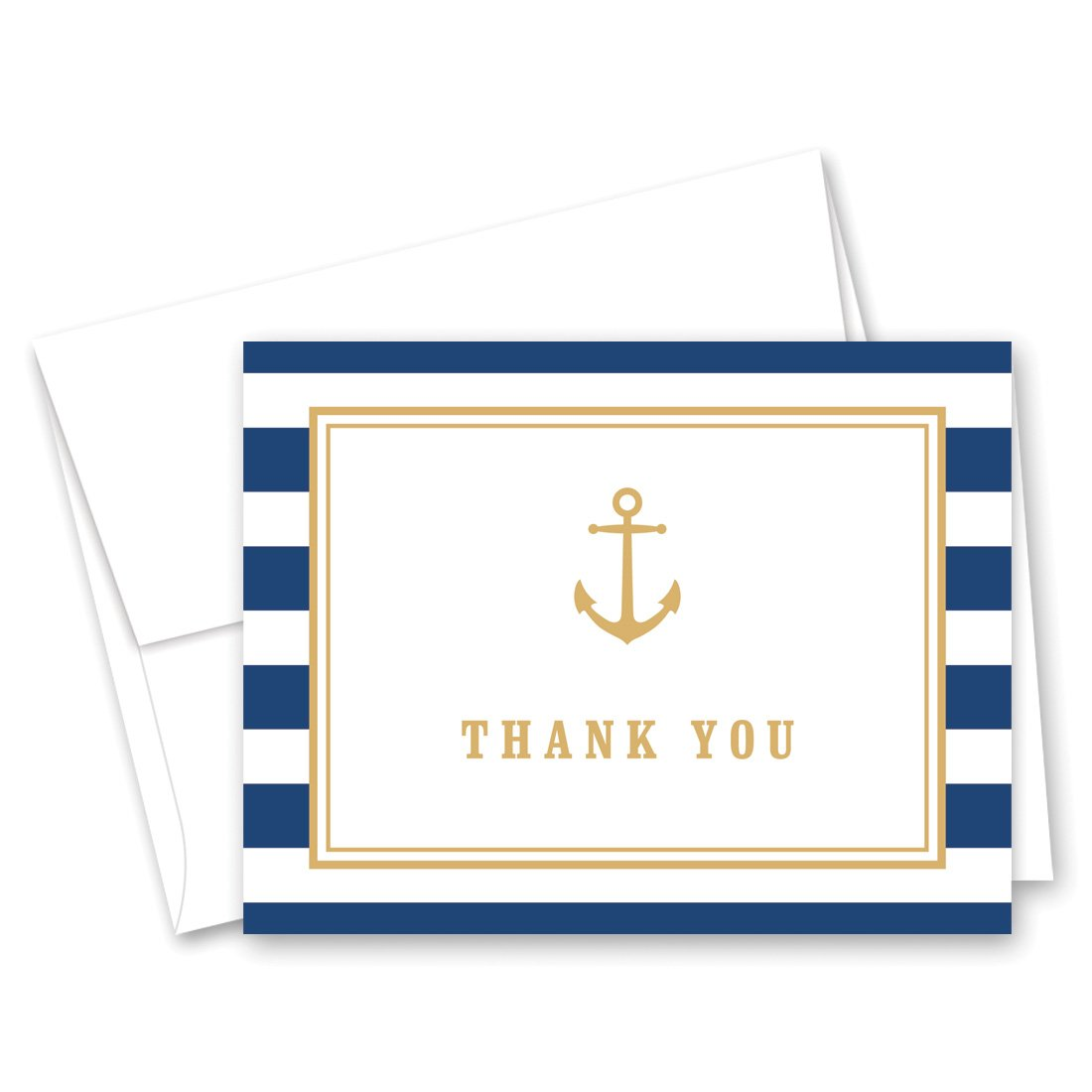 MyExpression.com 50 Cnt Navy Stripes Gold Anchor Nautical Baby Shower Thank You Cards