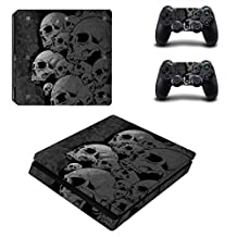 SKINOWN PS4 S Slim Skins Dark Grey Skull Sticker Vinly Decal Cover for Sony PS4 PlayStation 4 Console and Controller