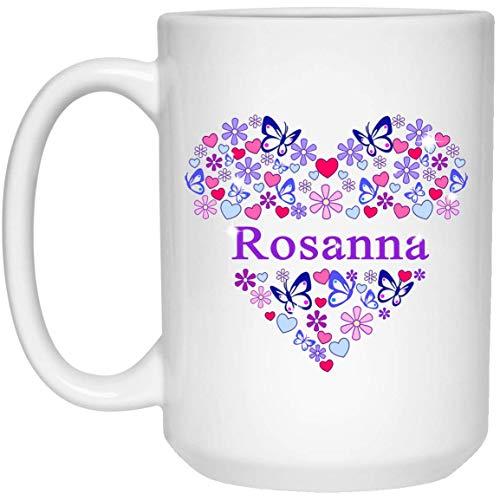 Rosanna name Coffee Mug Women Personalised name heart butterfly mug coaster friend birthday christmas gift Mug 15oz Tea Cup