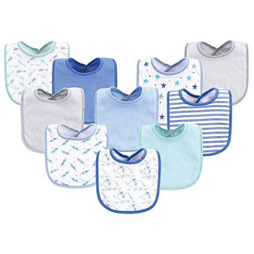 (Luvable Friends Baby Cotton Drooler Bib, 10 Pack, Boy Elephant/Stars, One Size)