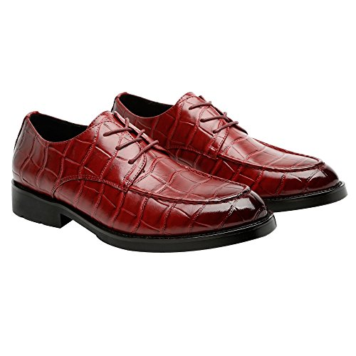 Easy Go Shopping Leather Shoes, Men's PU Leather Square Texture Shoes Upper Lace up Breathable Business Low Top Lined Oxfords (Loafer Optional) Loafer Wie