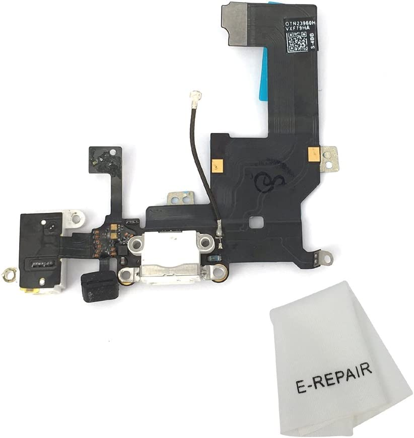 Charging Port Dock & Headphone Jack Connector Flex Cable Replacement for iPhone 5 Black
