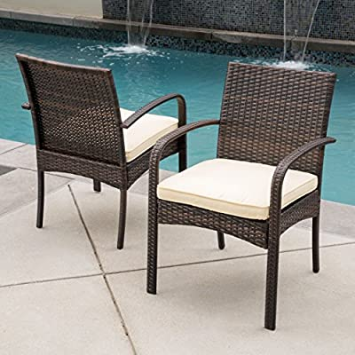 Great Deal Furniture Carmela Outdoor Multibrown Wicker Dining Chairs