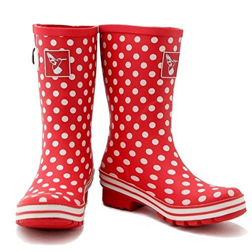 Botte de pluie polka rouge TFHQq