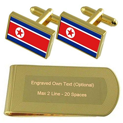 Money Gold Set Gift Flag Engraved Cufflinks Korea North Clip tone wXqSSp