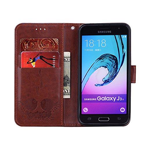 brown de téléphone protection avec cas motifs PU support Hozor Samsung relief pour J3 cuir exquis en fente Wallet J310 de 2016 avec SM Galaxy Flip fermeture magnétique étui carte fg0g8Bw