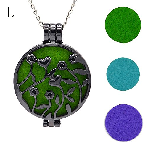 (FEDULK Vintage Pendant for Women Hollow Essential Oil Diffuser Necklace and Pad Fragrance Classic Girls Jewelry(L))