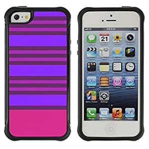 WAWU Funda Carcasa Bumper con Absorci??e Impactos y Anti-Ara??s Espalda Slim Rugged Armor -- stripes purple pink lines symmetric -- Apple Iphone 5 / 5S