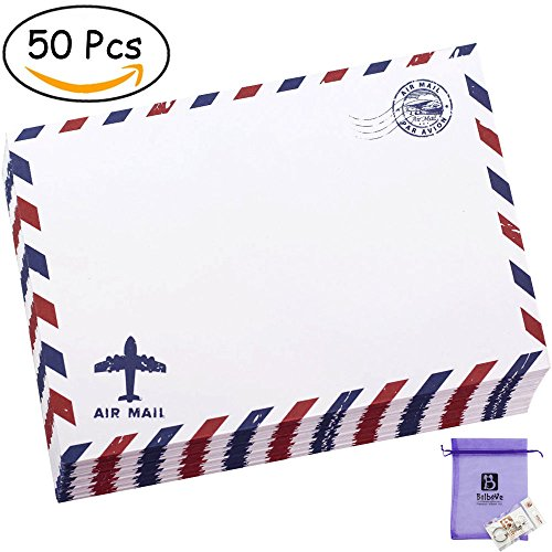 Bolbove Set of 50 Classic AirMail Vintage Style Kraft Paper Postcard Letter Envelopes Invitations (White) (Airmail Postcard)