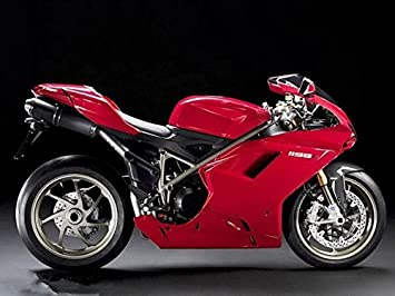 FocusAtOne Plain Red Complete Fairing Bodywork ABS Painted Plastic Injection Molding Kit for 2007-2012 07-12 2008 2009 2010 2011 Ducati 848 EVO Corse ...