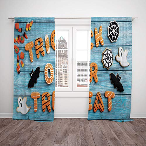 SCOCICI Polyester Window Drapes Kitchen Curtains [ Halloween,Fresh Trick Treat Gingerbread Cookies on Blue Wooden Table Spider Web Ghost Decorative,Multicolor] Bedroom Living Room Dorm Kitchen Cafe for $<!--$86.21-->