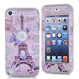 iPod Touch 5th Generation Case,Lantier 3 Layers Hybrid Soft Silicone Hard Plastic Quakeproof Drop Resistance Protective Case Cover For iPod Touch 5 With Butterfly and Eiffel Tower Pattern Gray