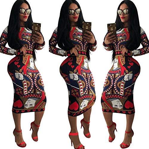 0c2a1f306a6 Dress for Women Elegant Long Sleeve - Stretchy African Floral Bodycon Midi  Dress at Amazon Women s Clothing store