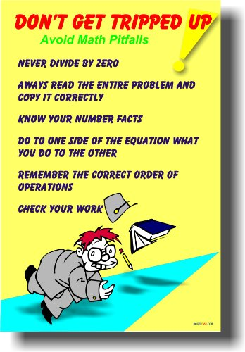 Don't Get Tripped Up - Avoid Math Pitfalls - Classroom Math Poster