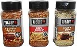 Weber All Natural Seasoning Blend 3 Flavor Variety Bundle: (1) Weber Gourmet Burger Seasoning Blend, (1) Weber Steak 'N Chop Seasoning Blend, and (1) Weber Kick'N Chicken Seasoning Blend 7.25-8.5 oz each
