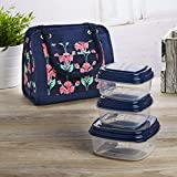Image of Fit & Fresh Ashland Insulated Lunch Bag Kit for Women, Includes Set of Reusable Containers and Ice Pack, Navy Pink Tropical Blooms