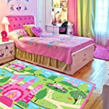 LELVA Cartoon Castle Girls Bedroom Rugs,Delicate Little Flowers Bedroom Floor Rugs,Cute Colorful Cartoon Kids Living Room Carpet
