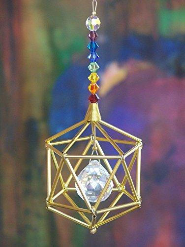 Golden Icosahedron Suncatcher Mobile with Chakra Theme Swarovski Crystals -