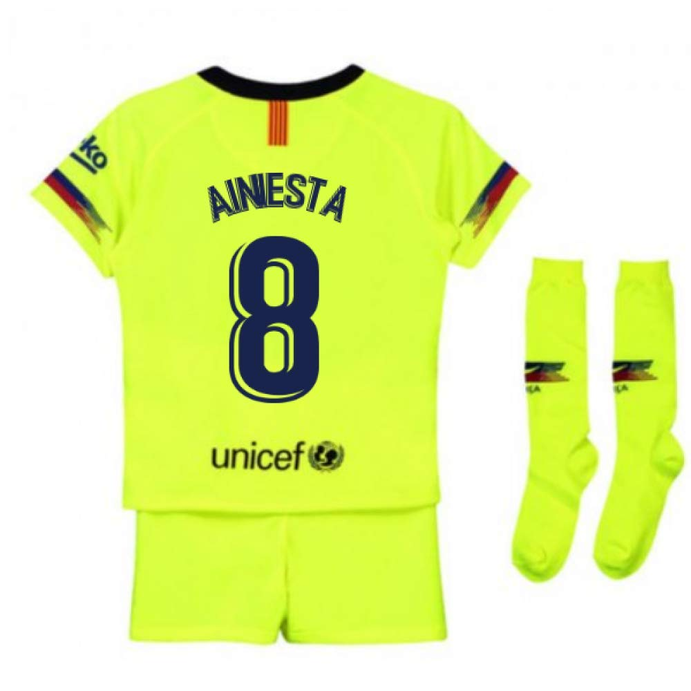 UKSoccershop 2018-2019 Barcelona Away Nike Little Boys Mini Kit (Andres Iniesta 8)