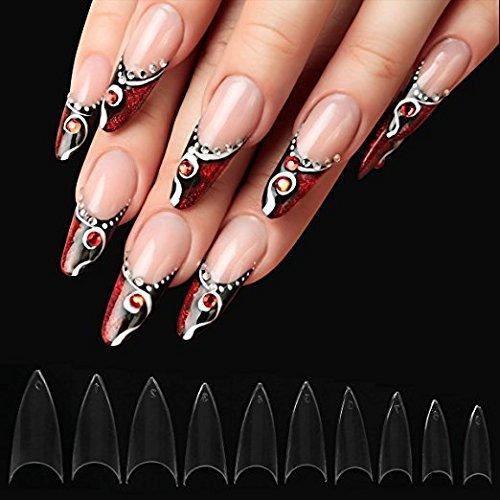Stiletto - Clavos falsos de acrílico para uñas, 1000 unidades, 10 tamaños para salones de uñas y arte de uñas DIY, 500 unidades de uñas transparentes y 500 ...