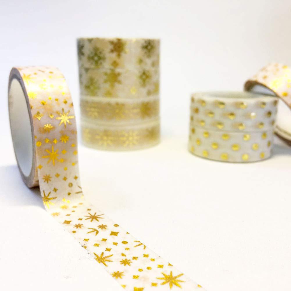 8 rotoli Set nastri adesivi Washi natalizi Collezione di nastri adesivi decorativi per album di Natale Artigianato fai-da-te e confezioni regalo Articoli ufficio,15 mm x 12 m Nastro adesivo Washi