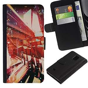 Planetar® Modelo colorido cuero carpeta tirón caso cubierta piel Holster Funda protección Para Samsung Galaxy S5 Mini / SM-G800 (Not For S5!!!) ( Architecture Abstract Vignette )