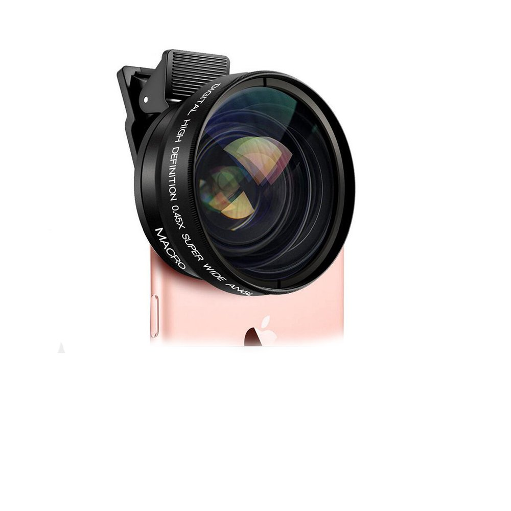 iPhone camera lens 2-in-1 0.45x super wide angle lenses 12.5x Macro lens for iPhone 5 5s 6 6s 7 7plus Samsung galaxy s5 s6 s7 note 5 Android smart phone i lenses with a fisheye lens low-cost