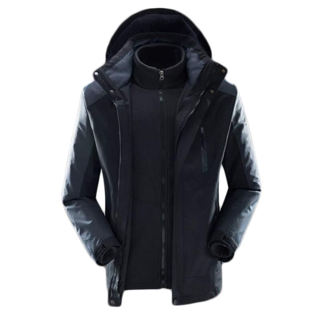 NOIR XL ZJEXJJ VêteHommests d'hiver en Coton épais pour Hommes en Vrac Grande Veste d'hiver Trois-en-Un Veste Veste d'hiver (Couleur   rouge, Taille   XXL)
