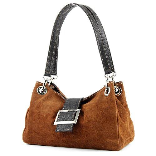 Italiana. Mujer Bolso de mano bolsa bolso piel ante pequeño TL02 Dunkelcamel