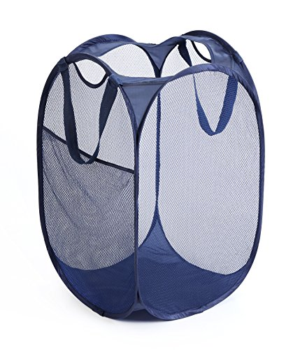 (PRO-MART DAZZ Deluxe Mesh Pop-Up Laundry Hamper with Side Pocket and Handles, Blue)