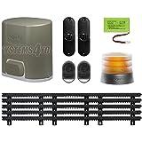 Kit pour portails coulissant Somfy Elixo 500 - 3S io - Pack confort avec 5 m de cremaillère en nylon, 30 x 20 mm