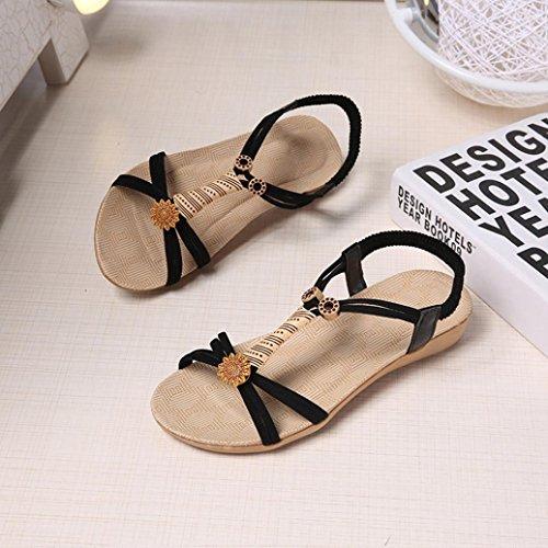 Dame Microfiber Sandalen Peep-Toe Outdoor Sandalen, Kaiki Frauen Flache Schuhe Bandage Bohemia Freizeit Sandalen Black