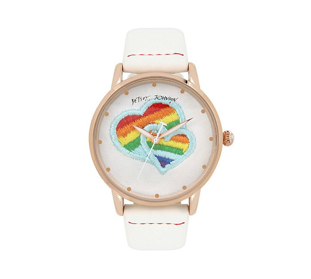 Betsey Johnson Love Is Love Rainbow Hearts Watch, Multi