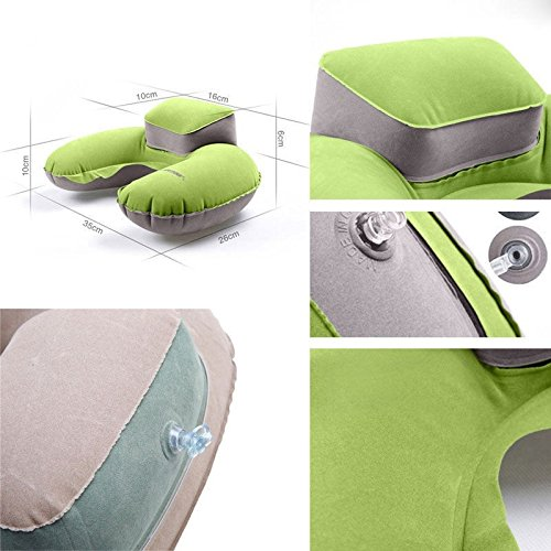 KINJOHI Travel Pillow Inflatable U Shape Neck Blow Up Cushion PVC Flocking Pillow for Camping and Traveling, with Storage Bag by KINJOHI (Image #8)