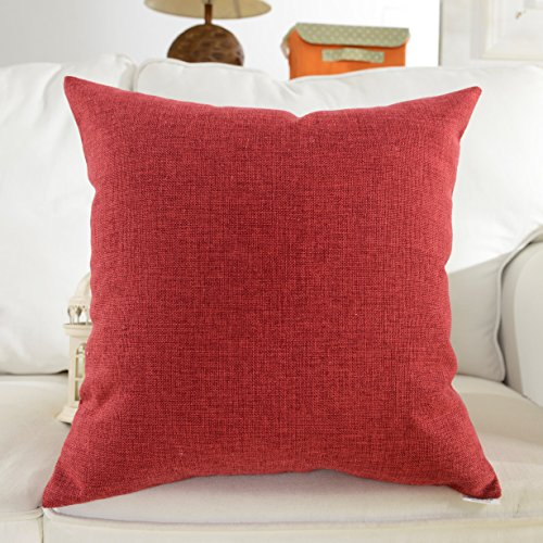 Home Brilliant Spring Decorative Supersoft Linen Square Throw Toss Pillow Cushion Cover for Bed, Burgundy,18x18 inch