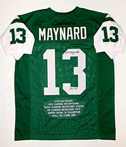 Signed Don Maynard Jersey - Green Pro Style Stat HOF Witnessed Auth - JSA  Certified - 26979aa0a